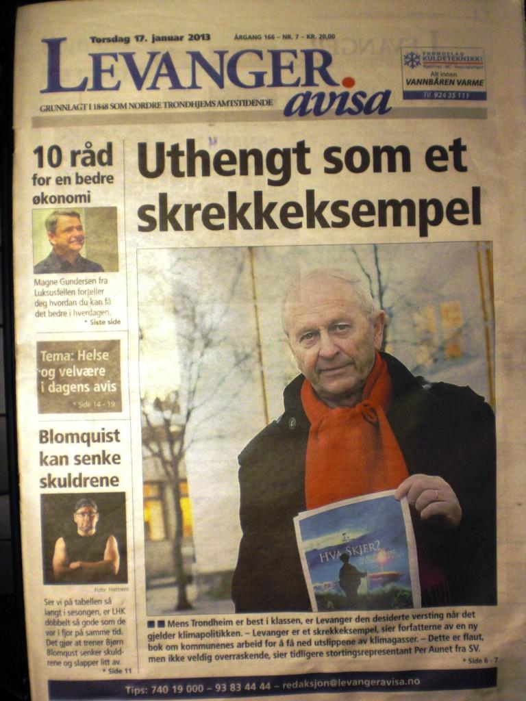 Per Aunet i Levanger-avisa 2013: Kartlegging tydet på at kommunen var en versting når det gjelder oppfølging av lokal klimaplan.