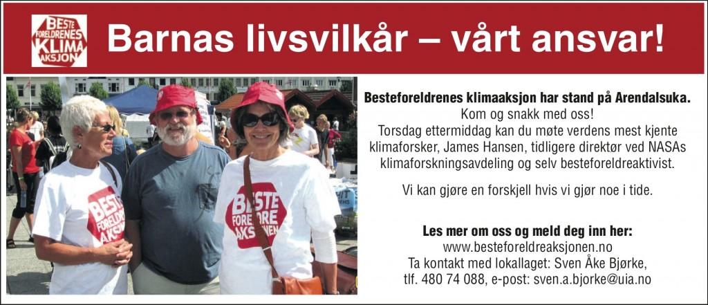 Annonse i Arendalsukeavisen. Besteforeldrene håper mange har lyst til å møte James Hansen.
