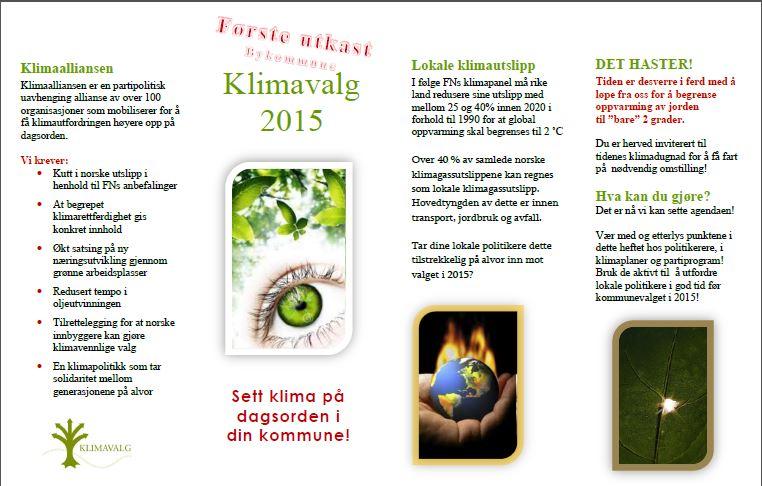Bergens-utkastet til kommunale klimavettregler er forsøksvis også visuelt utformet som en liten folder og knyttet til den tidligere kampanjen Klimavalg 2013.