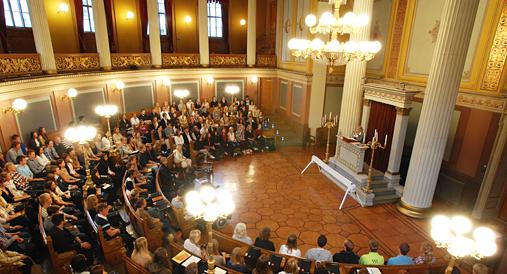 Konferansen holdes i den ærverdige gamle festsalen på Universitetet i Oslo sentrum