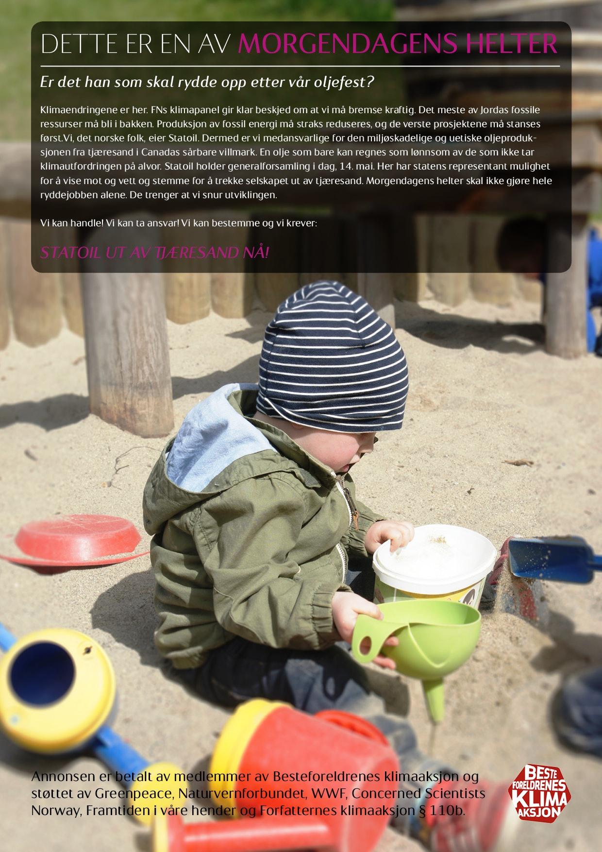 14. april 2014: Besteforeldreaksjonen med helsides annonse i flere riksaviser, på dagen for Statoils generalforsamling.