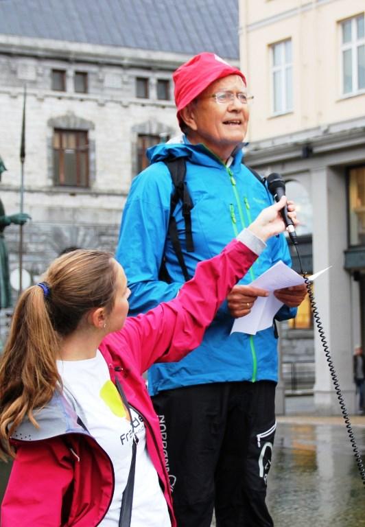Sigbjørn med appell ved klimamarsj i Bergen sept. 2014