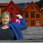 Det kan bli vått i Erna Solbergs hjemby hvis hun får gjennomslag for sin politikk, og andre land legger seg på samme lave ambisjonsnivå. Billedmontasje ved Ola Dimmen.