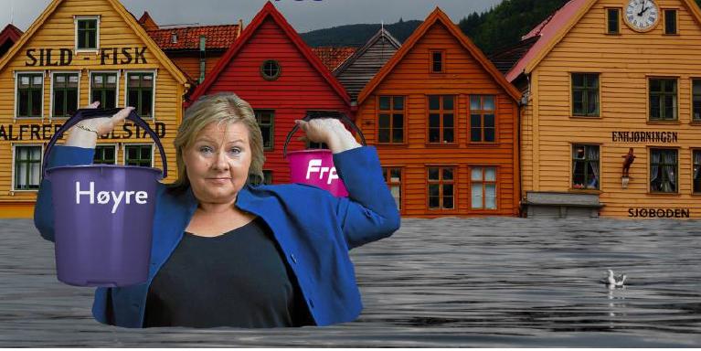 Det kan bli vått i Erna Solbergs heimby om ho får gjennomslag for sin politikk, og andre land legg seg på samme låge ambisjonsnivå.