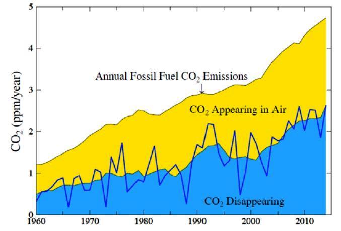 Vi vet hvor mye CO2 vi slipper ut. Vi vet også hvor mye av utslippene som hopes opp i atmosfæren (gul del), og hvor mye som blir absorbert av jord og hav (blå del). Målet er å få den øverste kurven til å falle og krysse inn i den blå. Det er vanskelig, men mulig, skriver James Hansen.