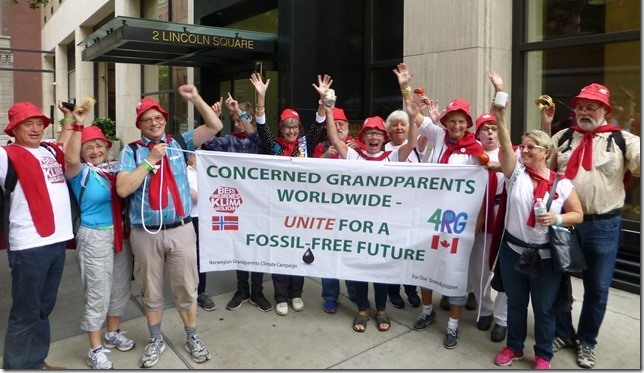 Grandparents in New York 21. sept 2014, ready for the People's Climate March. The New York March were given ample place in Norwegian media, and the national NRK television news had interviews with the Grandparents: «This is no ordinary senior trip abroad, they are grandparents who want to change the world.»