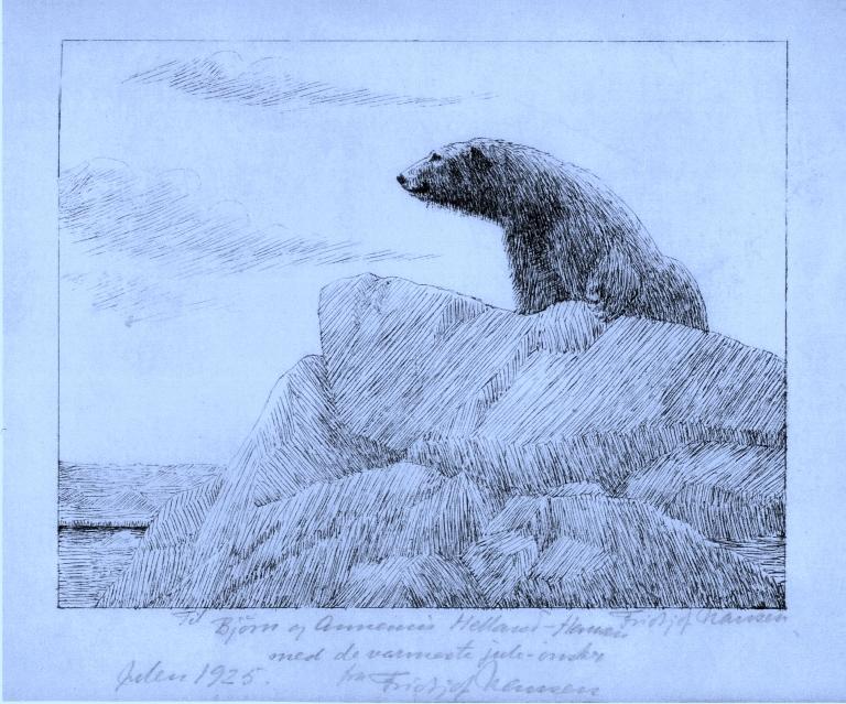 FRA DEN GANGEN ARKTIS VAR SOM DET SKAL VÆRE.  Tegning av Fridtjof Nansen, som gave til bestefar til nåværende eier: Nina Gjerde, medlem av Besteforeldrenes klimaaksjon. Isbjørnen er nå en rødlista art.