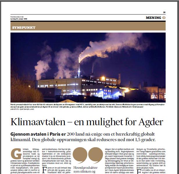 Norsk prosessindustri har over tid klart å redusere utslippene av klimagasser med 40 %, samtidig som produksjonen har økt. Denne effektiviseringen sammen med tilgang på fornybar energi kan gjøre prosessindustrien på Agder til en vinner i det globale, grønne skiftet, skriver artikkelforfatteren.
