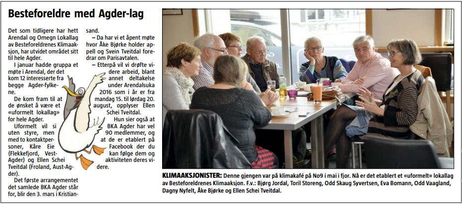 Fra Agderposten 19. februar 2016