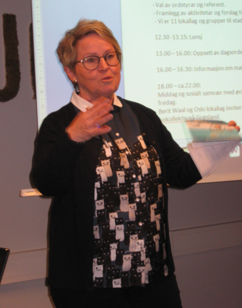 Turid Lilleheie fortalte om erfaringene fra Klimafestivalen i Drammen.