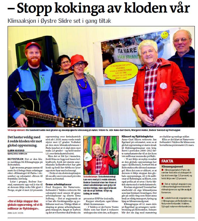 Klimagruppa presenterer seg i lokalavisa Valdres. Bodvar Sonstad i rød jakke.