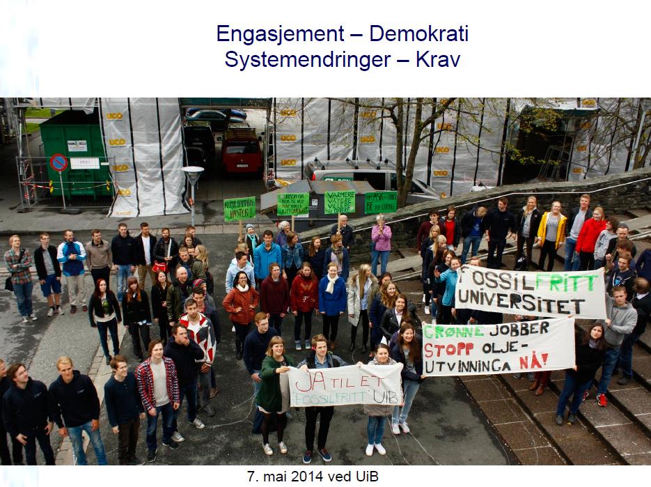Studenter i Bergen protesterer mot at universitetet mottar penger fra Statoil. Et tegn på endringene som er på gang, mener Peter M. Haugan.