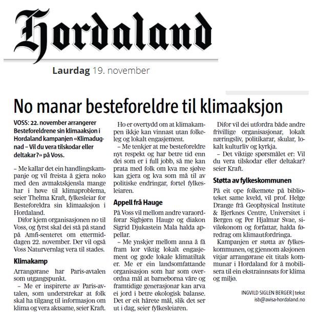 "God førehandsomtale i lokalavisa ""Hordaland"""