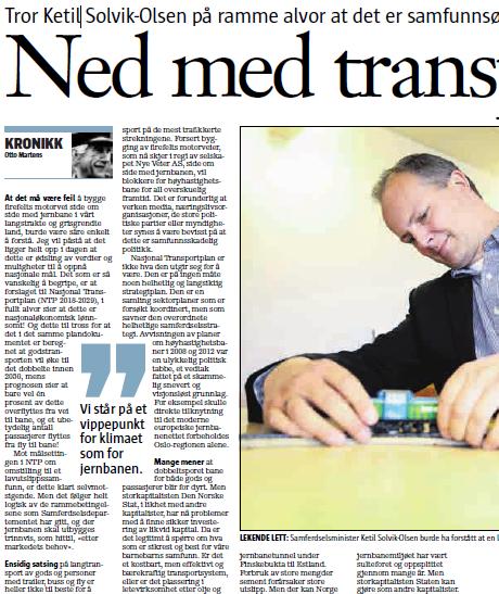 Krinikkforfatteren er tidligere forskningsleder i Sintef Marintek og initiativtaker til Besteforeldrenes «Jernbanekampanjen 2017»