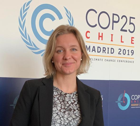 Kristina Fröberg på COP25. Foto: Svein Tveitdal